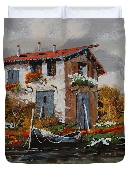 Barca Al Molo Duvet Cover by Guido Borelli