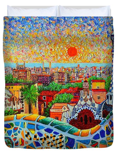 Barcelona View At Sunrise - Park Guell  Of Gaudi Duvet Cover by Ana Maria Edulescu