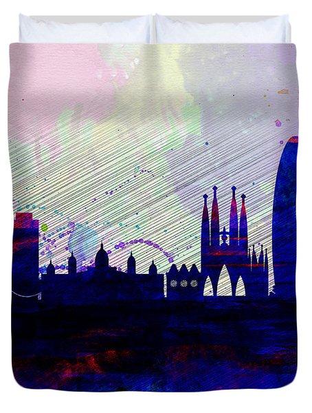 Barcelona Watercolor Skyline 2 Duvet Cover by Naxart Studio