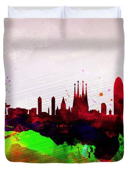 Barcelona Watercolor Skyline Duvet Cover by Naxart Studio