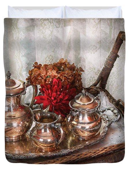Barista - Tea Set - Morning tea  Duvet Cover by Mike Savad