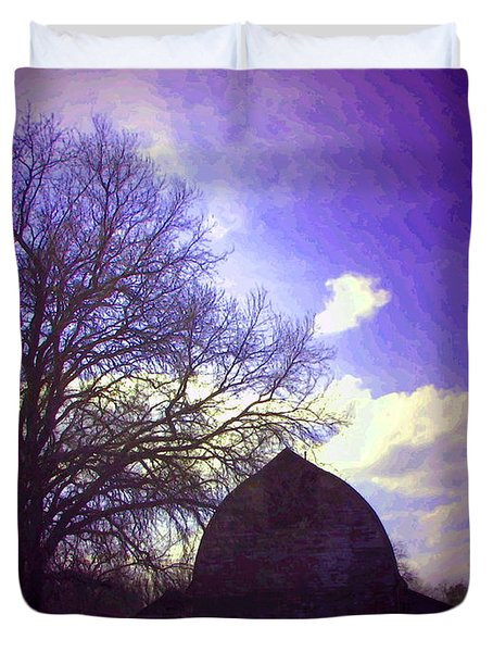 Barn And Oak Digital Painting Duvet Cover by Joyce Dickens
