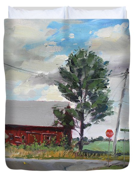 Barn by Lockport Rd Duvet Cover by Ylli Haruni