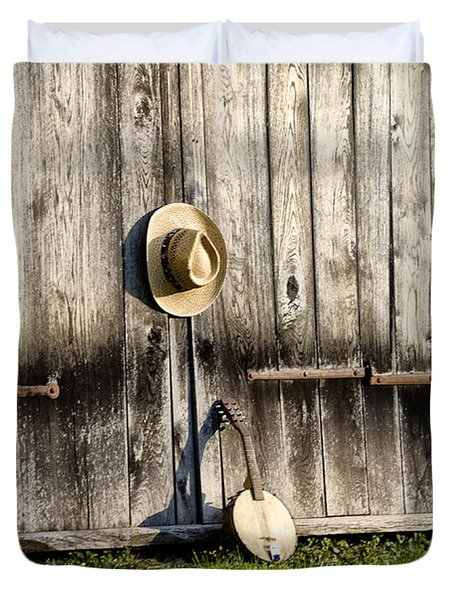 Barn Door and Banjo Mandolin Duvet Cover by Bill Cannon