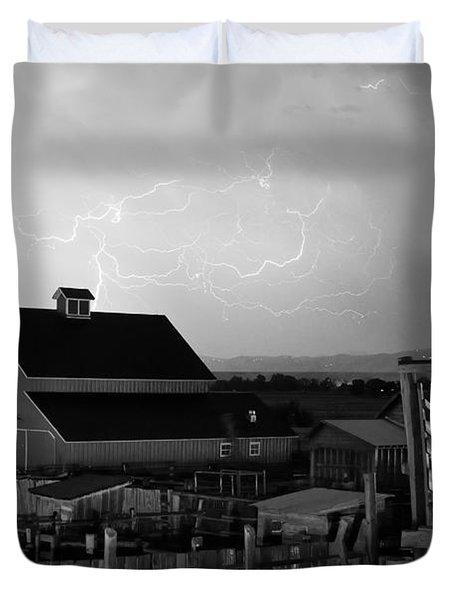 Barn On The Farm And Lightning Thunderstorm Bw Duvet Cover by James BO  Insogna