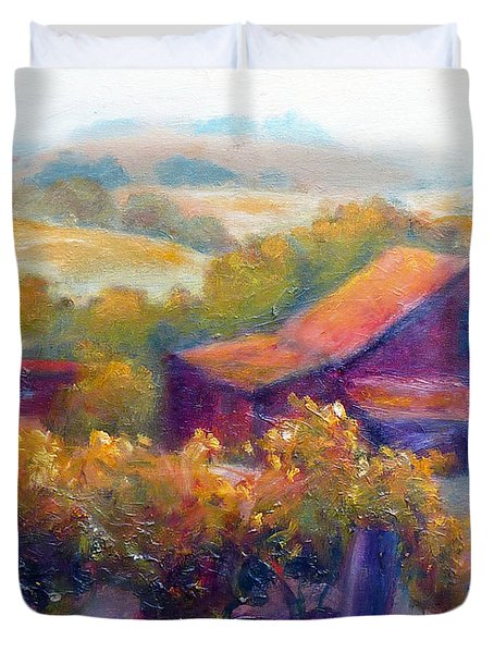 Barn Vineyard Duvet Cover by Carolyn Jarvis