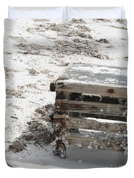 Barnacles On The Beach Duvet Cover by Georgia Fowler