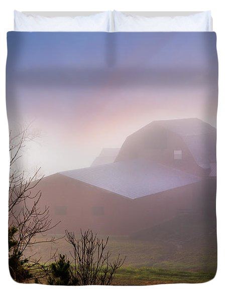 Barns In The Morning Light Duvet Cover by Debra and Dave Vanderlaan