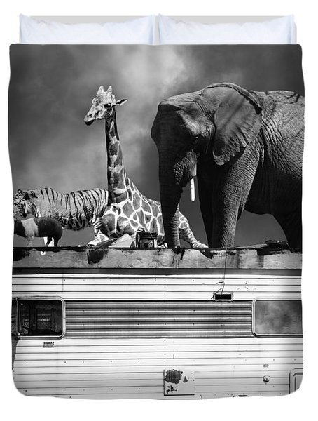 Barnum And Bailey Goes On A Road Trip 5d22705 Black And White Duvet Cover by Wingsdomain Art and Photography