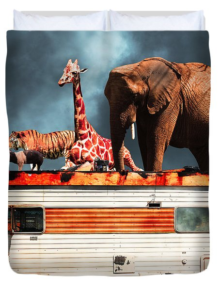Barnum and Bailey Goes On a Road Trip 5D22705 Duvet Cover by Wingsdomain Art and Photography