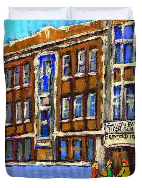 BARON BYNG HIGH SCHOOL 4251 ST. URBAIN STREET PLATEAU MONTREAL CITY  SCENE CAROLE SPANDAU MONTREAL A Duvet Cover by CAROLE SPANDAU
