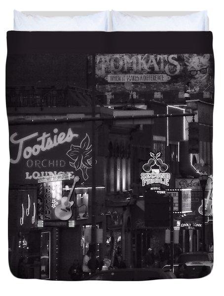 Bars On Broadway Nashville Duvet Cover by Dan Sproul
