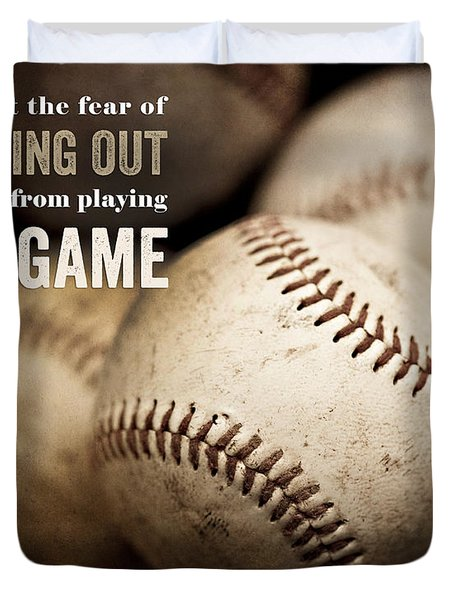 Baseball Art Featuring Babe Ruth Quotation Duvet Cover by Lisa Russo
