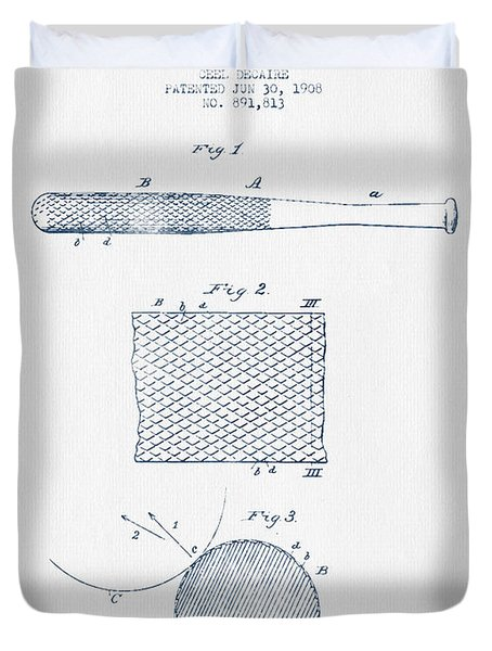 Baseball Bat Patent Drawing From 1904 - Blue Ink Duvet Cover by Aged Pixel