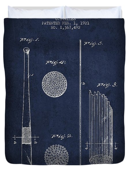 Baseball Bat Patent Drawing From 1921 Duvet Cover by Aged Pixel