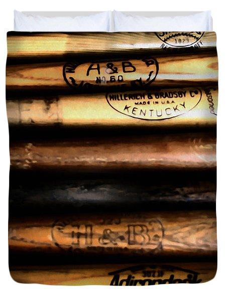 Baseball Bats Duvet Cover by Bill Cannon