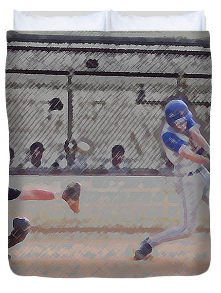 Baseball Batter Contact Digital Art Duvet Cover by Thomas Woolworth