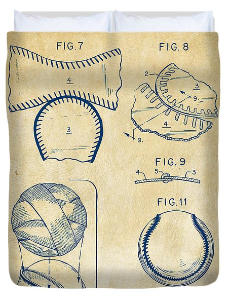 Baseball Construction Patent 2 - Vintage Duvet Cover by Nikki Marie Smith