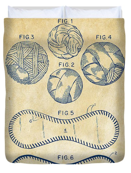 Baseball Construction Patent - Vintage Duvet Cover by Nikki Marie Smith