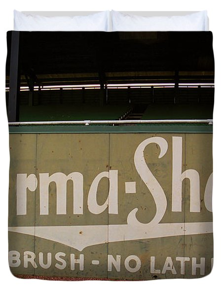 Baseball Field Burma Shave Sign Duvet Cover by Frank Romeo