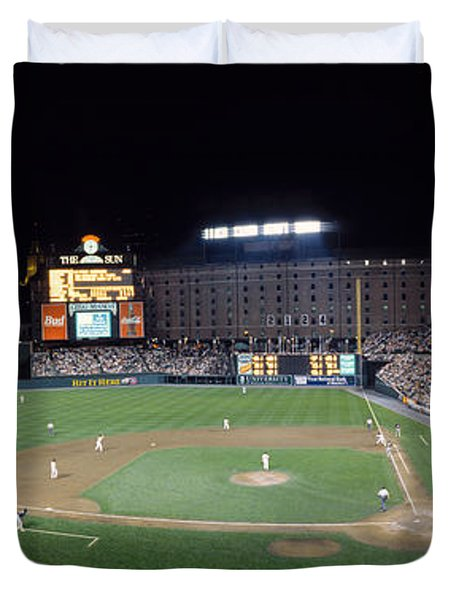 Baseball Game Camden Yards Baltimore Md Duvet Cover by Panoramic Images