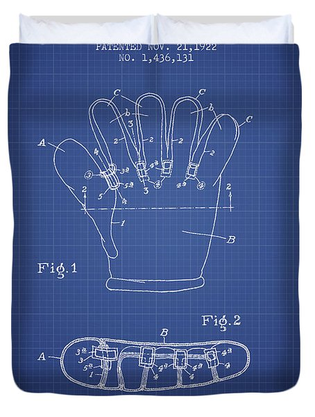 Baseball Glove Patent From 1922 - Blueprint Duvet Cover by Aged Pixel