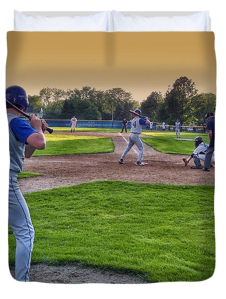 Baseball On Deck Circle Duvet Cover by Thomas Woolworth
