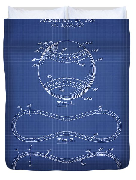 Baseball Patent From 1928 - Blueprint Duvet Cover by Aged Pixel