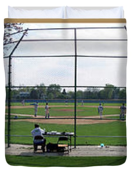 Baseball Playing Hard 3 Panel Composite 01 Duvet Cover by Thomas Woolworth