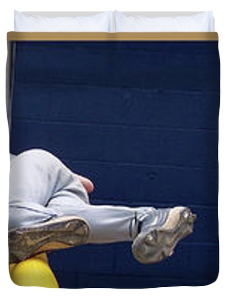 Baseball Playing Hard 3 Panel Composite 02 Duvet Cover by Thomas Woolworth