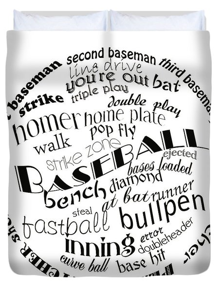 Baseball Terms Typography Black And White Duvet Cover by Andee Design