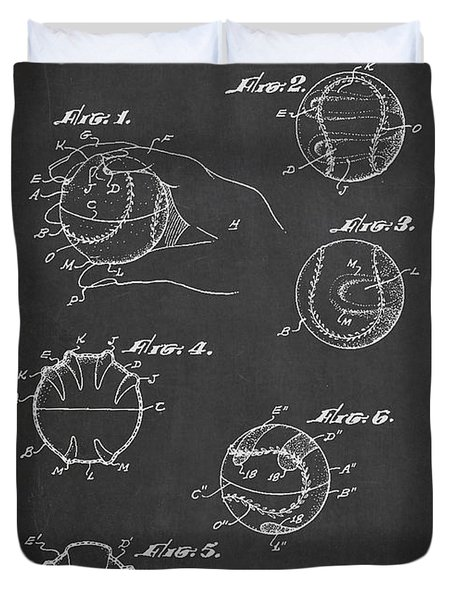 Baseball Training Device Patent Drawing From 1961 Duvet Cover by Aged Pixel