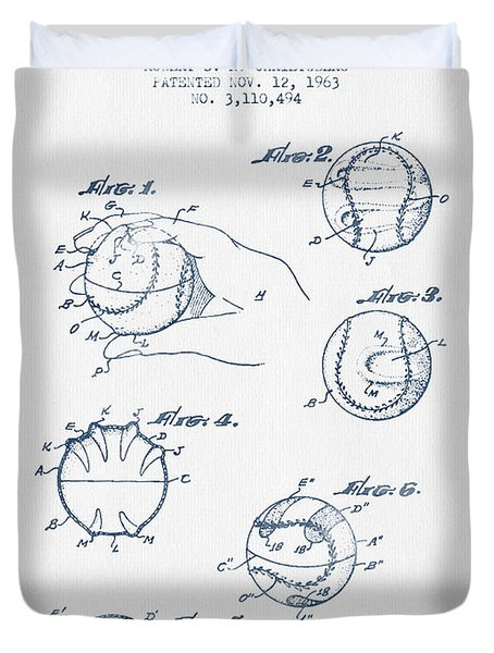 Baseball Training Device Patent Drawing From 1963 - Blue Ink Duvet Cover by Aged Pixel