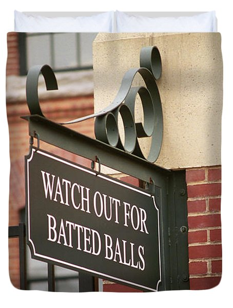 Baseball Warning Duvet Cover by Frank Romeo