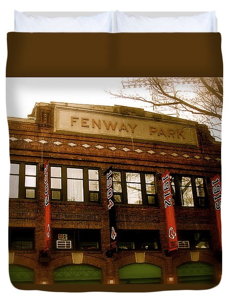 Baseballs Classic  V Bostons Fenway Park Duvet Cover by Iconic Images Art Gallery David Pucciarelli