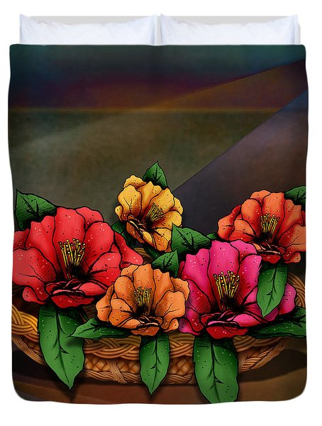 Basket Of Hibiscus Flowers Duvet Cover by Bedros Awak
