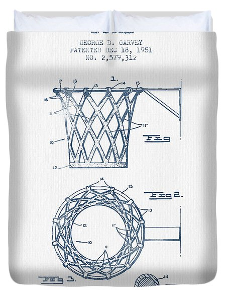 Basketball Goal Patent From 1951 - Blue Ink Duvet Cover by Aged Pixel