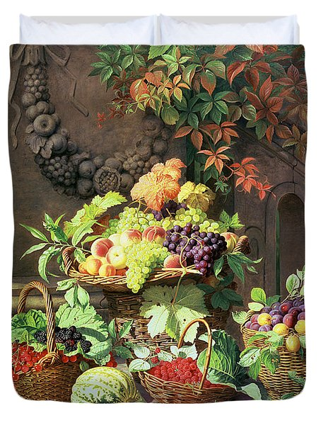 Baskets Of Summer Fruits Duvet Cover by William Hammer