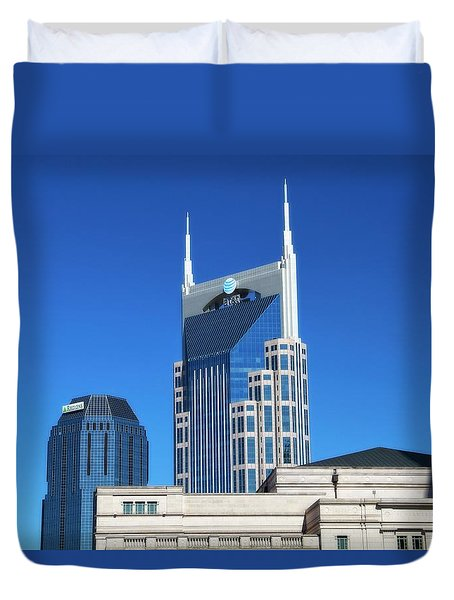 Batman Building And Nashville Skyline Duvet Cover by Dan Sproul