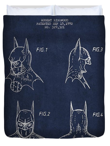 Batman Head Dress Patent Drawing Duvet Cover by Aged Pixel