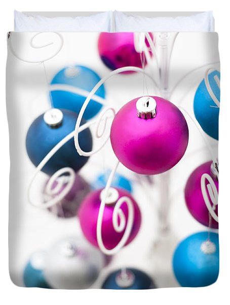 Baubles From Above Duvet Cover by Anne Gilbert