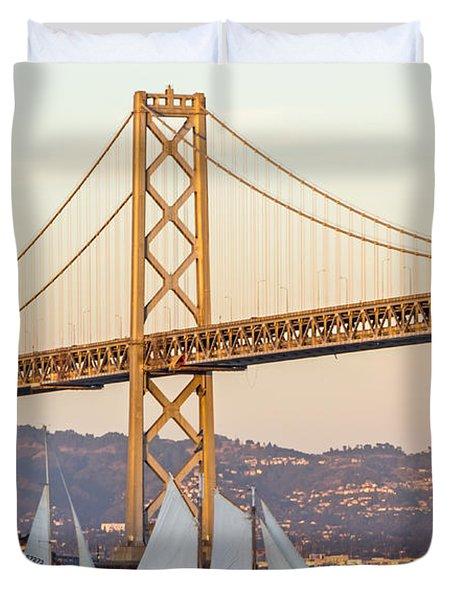 Bay Bridge Gold Duvet Cover by Kate Brown