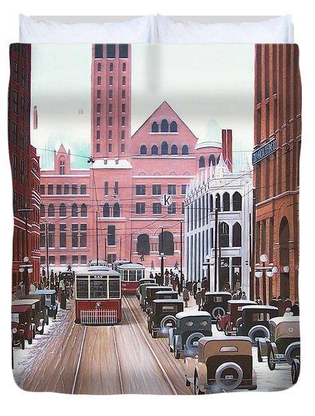 Bay Street Christmas Eve 1924 Duvet Cover by Kenneth M  Kirsch