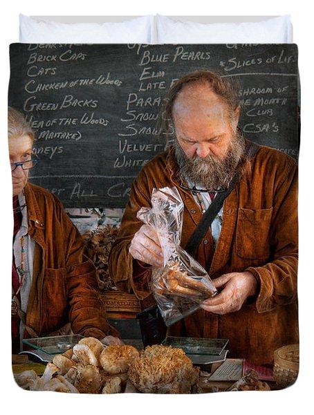 Bazaar - We Sell Fresh Mushrooms Duvet Cover by Mike Savad