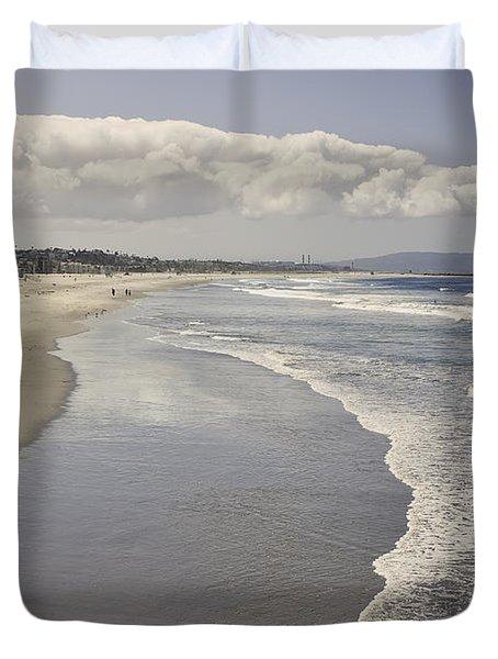 Beach At Santa Monica Duvet Cover by Kim Hojnacki