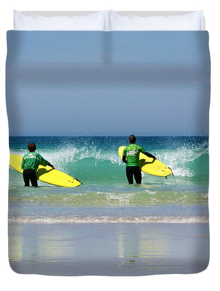 Beach Boys Go Surfing Duvet Cover by Terri Waters