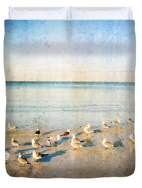 Beach Combers - Seagull Art by Sharon Cummings Duvet Cover by Sharon Cummings