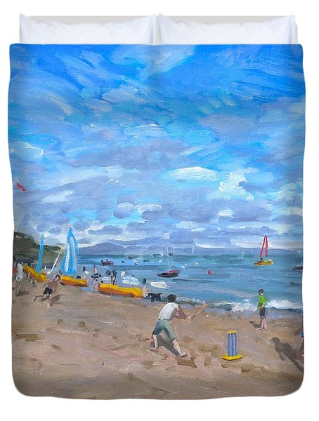 Beach Cricket Duvet Cover by Andrew Macara