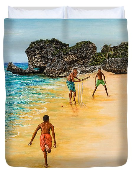 Beach Cricket Duvet Cover by Victor Collector
