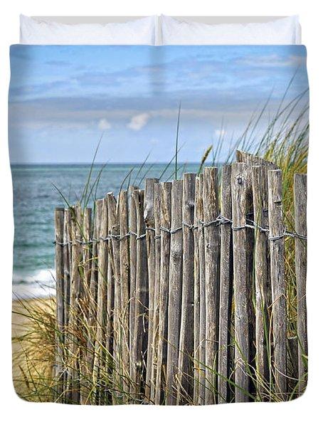 Beach fence Duvet Cover by Elena Elisseeva